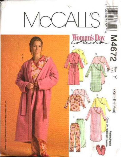 McCall's Sewing Pattern 4672 Misses Size 4-14 Wrap Front Robe Nightgown Pajama Top Pants