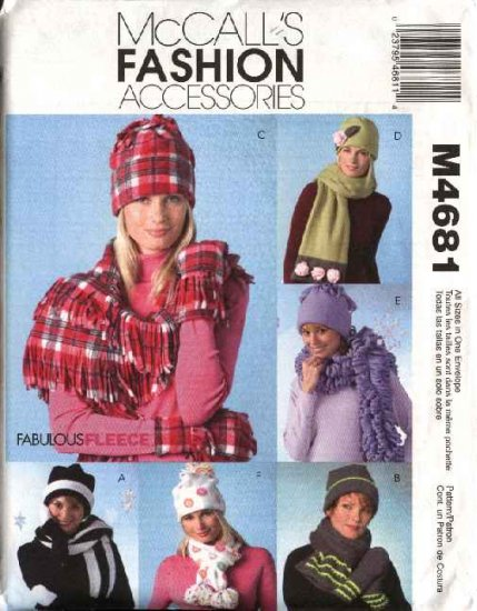 McCall's Sewing Pattern 4681 M4681 Misses All Sizes Fleece Embellished Fringed Hats Scarves Mittens