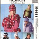 McCall's Sewing Pattern 4681 Misses All Sizes Fleece Embellished Fringed Hats Scarves  Mittens