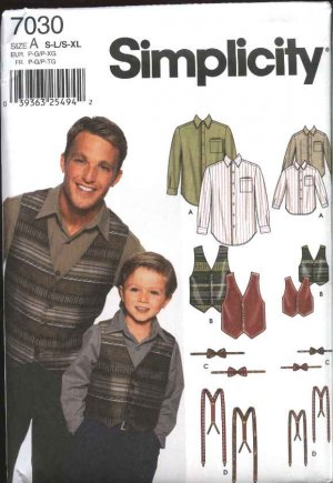 Simplicity Sewing Pattern 7030 Boys Mens Button Front Long Sleeve Shirts Vests Bow Tie Suspenders
