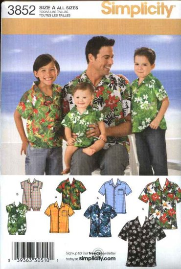Simplicity Sewing Pattern 3852 Boys Mens Babie's Button Front Short Sleeve Hawaiian Shirt Romper