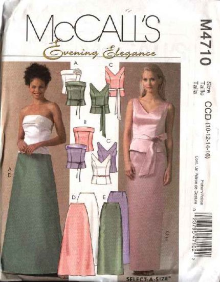 McCall's Sewing Pattern 4710 Misses Size 10-16 Formal Evening Prom Sleeveless Strapless Tops Skirt