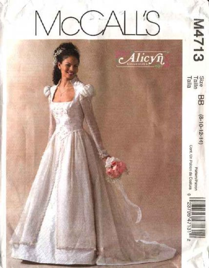 McCall's Sewing Pattern 4713 Misses Size 12-18 Alicyn Bridal Wedding Gown Dress Cut On Train