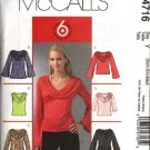 McCall's Sewing Pattern 4716 Misses Size 4-14 Easy Pullover Cowl Neckline Knit Top Tunic Sash