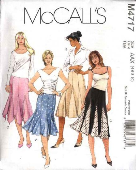 McCall's Sewing Pattern 4717 Misses Size 12-18 Close Fitting Flared Gored Godet Skirts