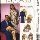 "McCall's Sewing Pattern 4724 Misses Mens Unisex Chest Size 46-56"" Easy Unisex Pajamas Bathrobe"