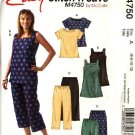 McCall's Sewing Pattern 4750 Misses Size 6-12 Easy Pullover Tops Tunics Capris Cropped Pants Shorts