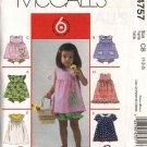 McCall's Sewing Pattern 4757 Girls Size 1-2-3 Easy Summer Top Dress Panties Handbag