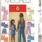 McCall's Sewing Pattern 4762 Girls Size 3-6 Easy Suntops Shoulder Strap Top Skort Cropped  Pants