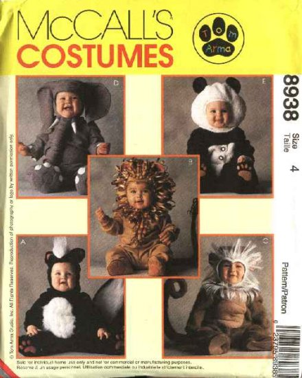 McCall's Sewing Pattern 8938 Girls Boys Toddlers Size 2 Skunk Lion Monkey Elephant Panda Costume