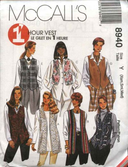 McCall's Sewing Pattern 8940 M8940 Misses Size 4-14 Easy 1 Hour Long Short Optional Closure Vests