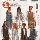 McCall's Sewing Pattern 8940 Misses Size 4-14 Easy 1 Hour Long Short Optional Closure Vests