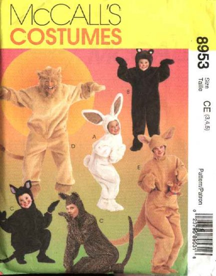 McCall's Sewing Pattern 8953 Boys Girls Size 3-5 Bunny Bear Cat Lion Kangaroo Halloween Costumes