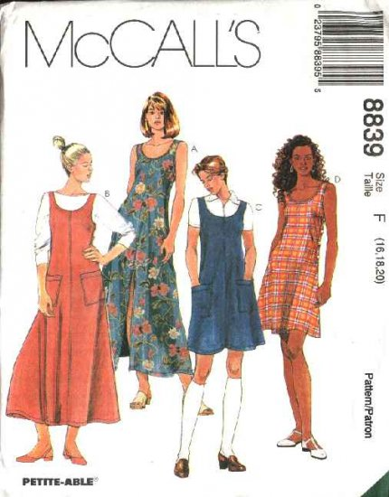 McCall's Sewing Pattern 8839 Misses Size 16-20 Dress Long Short Flared Jumper