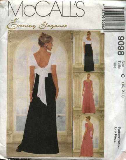 McCall's Sewing Pattern 9098 Misses Size 6-10 Formal Evening Prom Gown Dress short Sleeve