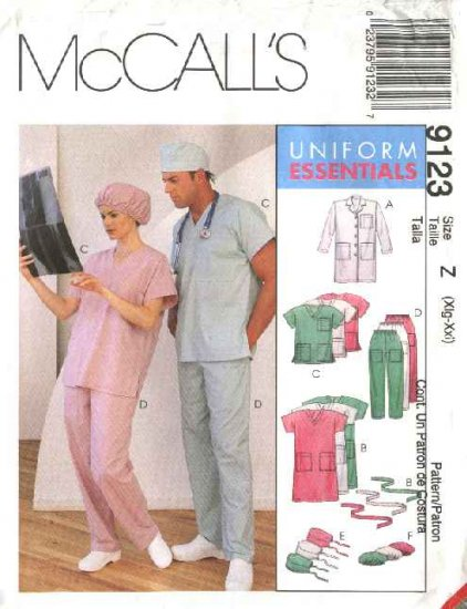 McCall's Sewing Pattern 9123 Misses Mens Chest Size 42-48 Lab Coat Scrub Uniform Top Pants Dress