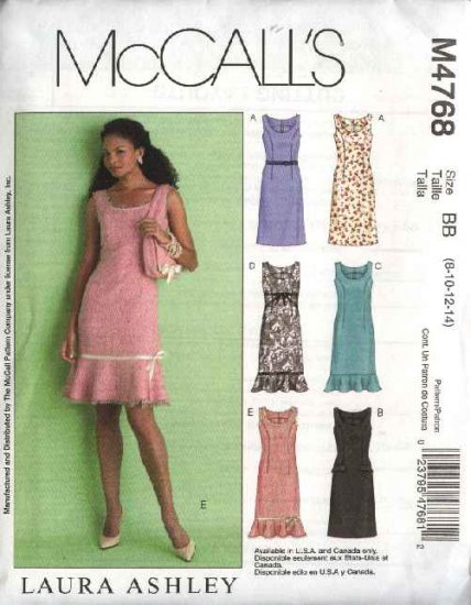 McCall's Sewing Pattern 4768 Misses Size 16-22 Fitted Straight Sleeveless Dresses