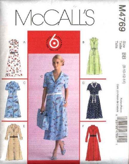 McCall's Sewing Pattern 4769 Misses Size 12-18 Easy Button Front Shirtwaist Dresses