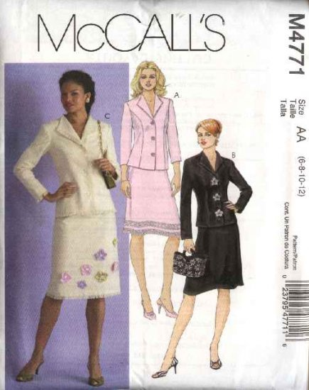 McCall's Sewing Pattern 4771 Misses Size 6-12 Button Front Princess Seam Jacket A-Line Skirt Suit