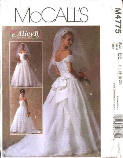 McCall's Sewing Pattern 4775 Misses Size 14-20 Alicyn Full Skirted Cut On Train Wedding Gown Dress