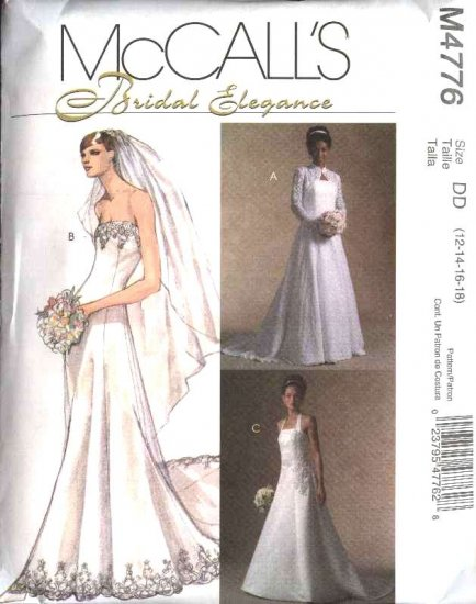 McCall's Sewing Pattern 4776 Misses Size 12-18 Strapless Cut On Train Wedding Gown Shrug