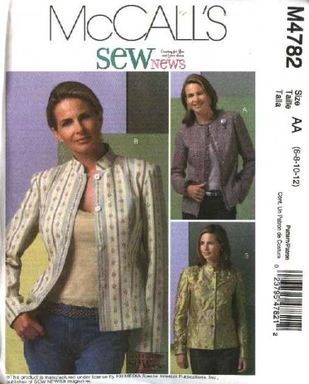 McCall's Sewing Pattern 4782 Misses Size 6-12 SewNews Lined Long Sleeve Jackets
