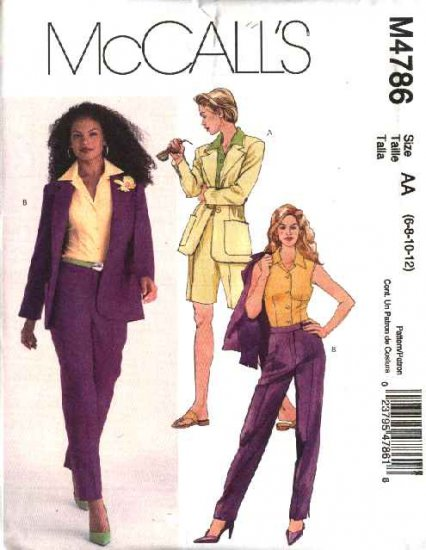 McCall's Sewing Pattern 4786 Misses Size 14-20 Lined Jacket Shirt Pants City Bermuda Shorts Suit