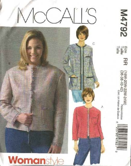 McCall's Sewing Pattern 4792 Womans Plus Size 18W-24W Lined Long Sleeve Jacket Two Lengths