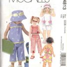 McCall's Sewing Pattern 4813 Girls Size 1-4 Sleeveless Top Suntop Shorts Capri Pants Hat