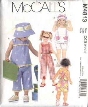 McCall's Sewing Pattern 4813 Girls Size 1-4 Sleeveless Top Suntop Shorts Capri Pants Hat