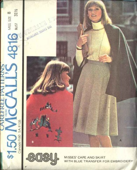 Retro McCall's Sewing Pattern 4816 Misses Size 8 Easy Cape Flared Skirt Embroidery Transfer