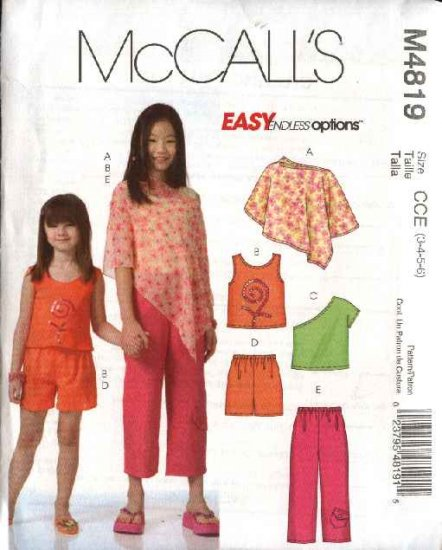 McCall's Sewing Pattern 4819 Girls Size 7-10 Easy Wardrobe Poncho Pullover Top Shorts Pants