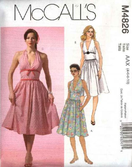 McCall's Sewing Pattern 4826 Misses Size 4-10 Sundress Halter Neckline Full Skirt Dresses