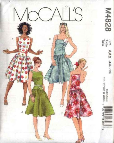 McCall's Sewing Pattern 4828 Misses Size 4-10 Lined Summer Sleeveless Strapless Dresses