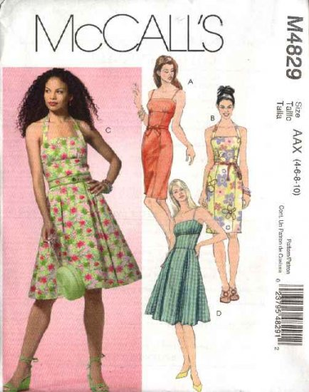 McCall's Sewing Pattern 4829 Misses Size 4-10 Summer Sundress Full Straight Skirt Dress