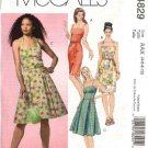 McCall's Sewing Pattern 4829 Misses Size 12-18 Summer Sundress Full Straight Skirt Dress
