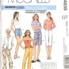 McCall's Sewing Pattern 4839 Misses Size 8-14 Easy Fitted Bermuda Walking Shorts Cropped Long Pants