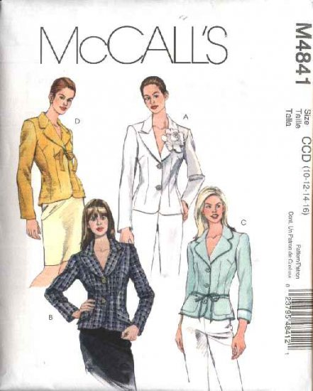 McCall's Sewing Pattern 4841 Misses Size 10-16 Unlined  Fitted Button Front Jackets