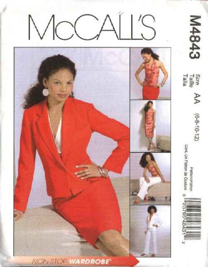 McCall's Sewing Pattern 4843 Misses Size 10-16 Wardrobe Halter Top Skirt Lined Jacket Pants