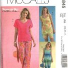 McCall's Sewing Pattern 4845 Misses Size 6-12 Summer Pullover Tops Shorts Capri Pants