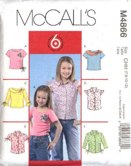 McCall's Sewing Pattern 4866 M4866 Girls Size 7-12 Easy Pullover Knit Tops Button Front Shirts