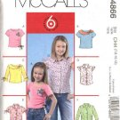 McCall's Sewing Pattern 4866 Girls Size 7-12 Easy Pullover Knit Tops Button Front Shirts Blouses