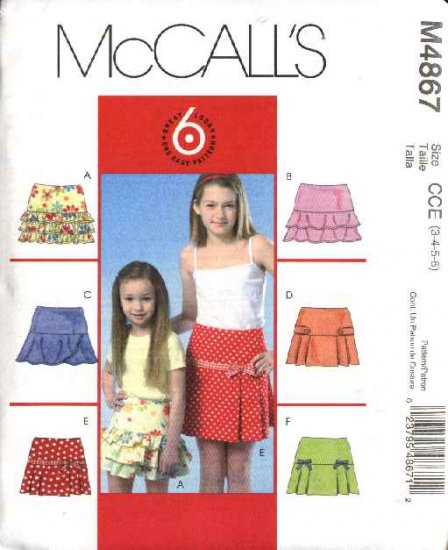 McCall's Sewing Pattern 4867 Girls Size 3-6 Easy Tiered Yoke Pleated Ruffled Skirts