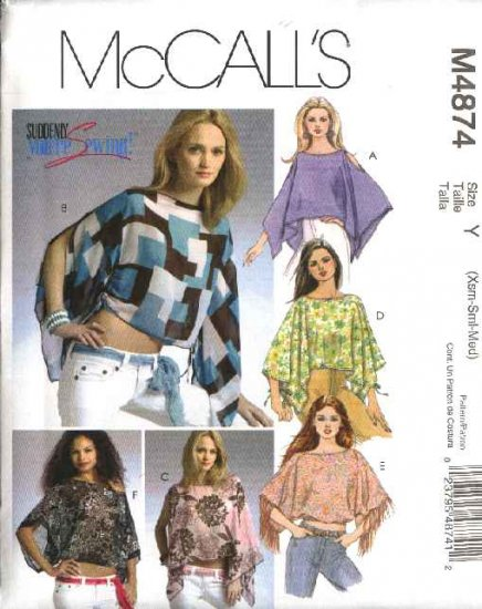 McCall's Sewing Pattern 4874 Misses Size 16-22 Loose-Fitting Poncho Summer Tops