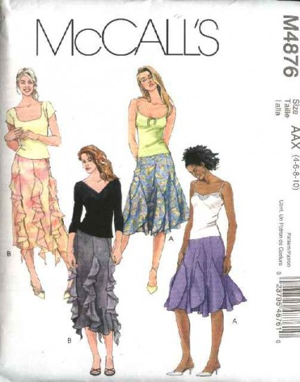 McCall's Sewing Pattern 4876 Misses Size 4-10 Gored Curved Seams Flounces Skirts