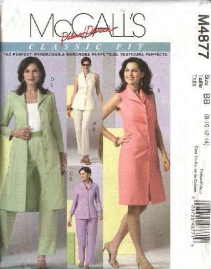 McCall's Sewing Pattern 4877 Misses Size 16-22 Classic Wardrobe Button Front  Dress Duster Pants Top