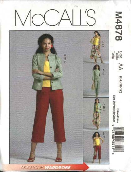McCall's Sewing Pattern 4878 Misses Size 8-14 Wardrobe Jacket Skirt Cropped Long Pants Suntop