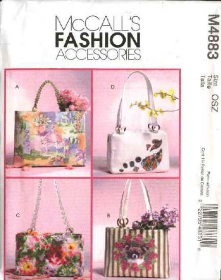 McCall's Sewing Pattern 4883 Lined Handbags  Totes w/ Pockets Purses Bags Two Sizes