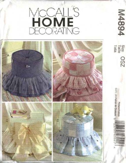McCall's Sewing Pattern 4894 Home Decorating Four Tuffets  Ottomans Cushions