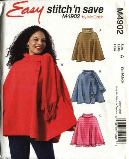 McCall's Sewing Pattern 4902 Misses Size 16-26 Easy Fleece Turtleneck Attached Scarf Ponchos